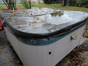 waterlogged hot tub cover