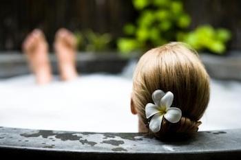 Soothing soak in hot tub