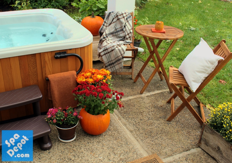 Fall hot tub patio