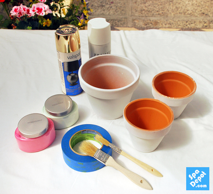 Supplies for painting Terra Cotta Pots DIY