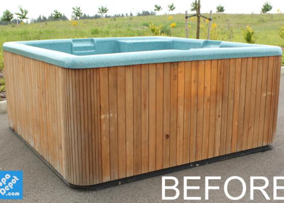 weather beaten hot tub cabinet