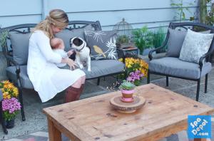 Family enjoying re-upholstered cushions