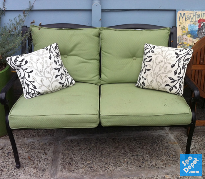 Old worn outdoor furniture cushions