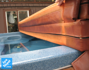 Chemical damaged hot tub cover