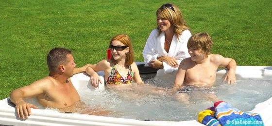 Family enjoying hot tub