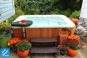Hot tub decorated for fall