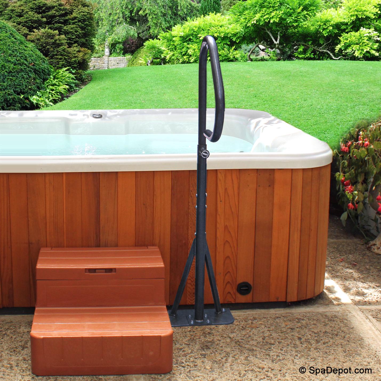 Hot tub hand rail
