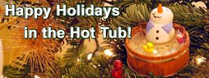 Snowman in hot tub