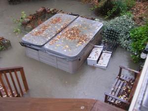 Flooded hot tub
