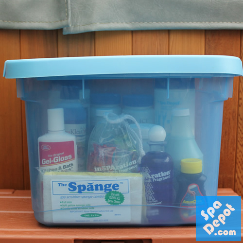 Keep supplies in plastic tote