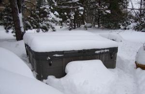 Snowed in hot tub