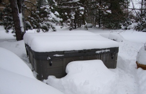 Snowed in hot tub