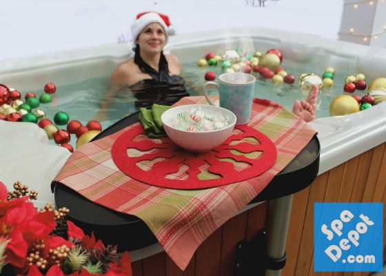 Woman relaxing in Christmas hot tub