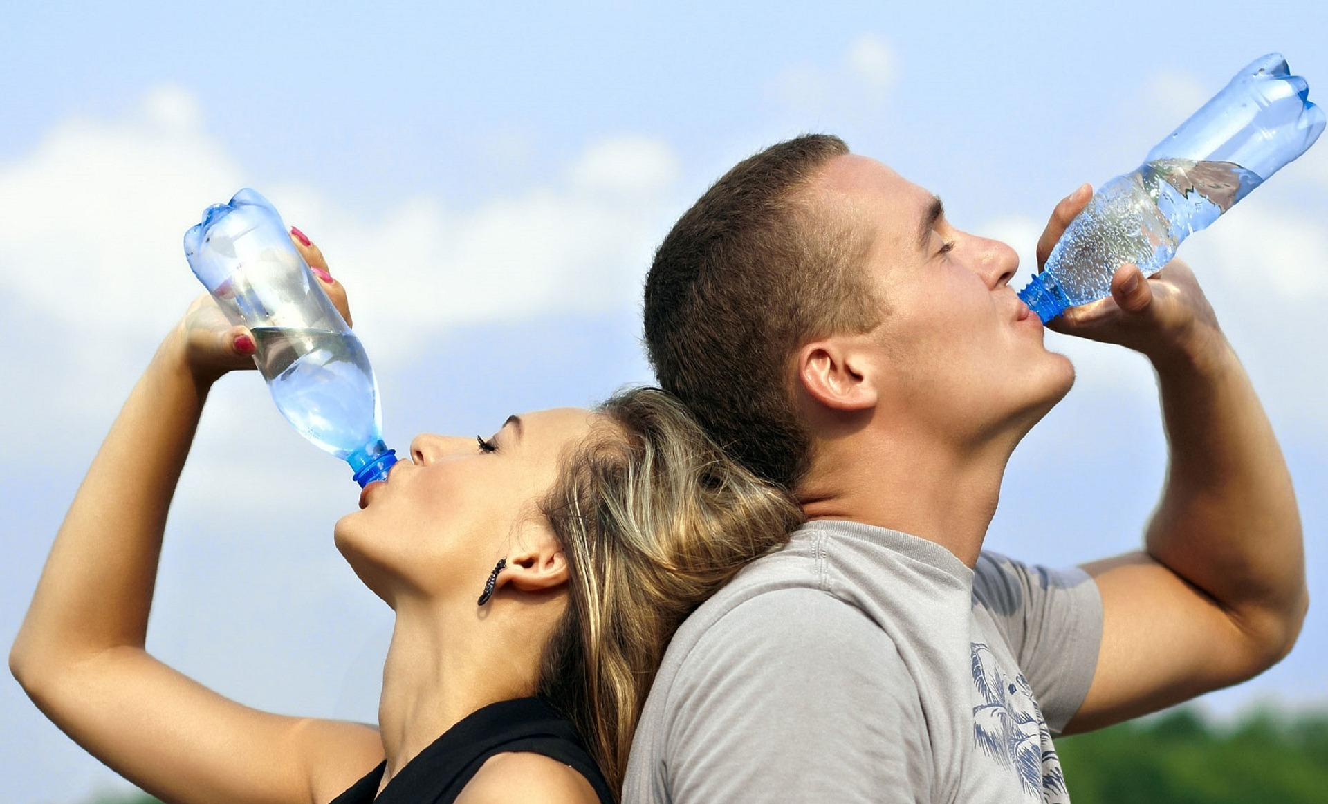 1. Couple drinking water