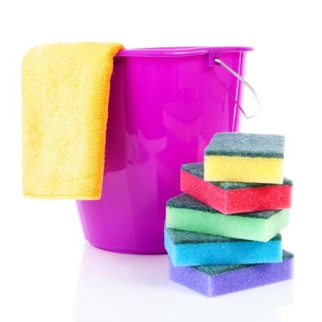 Bucket, sponge, microfiber towel