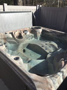 Hot tub with cover open