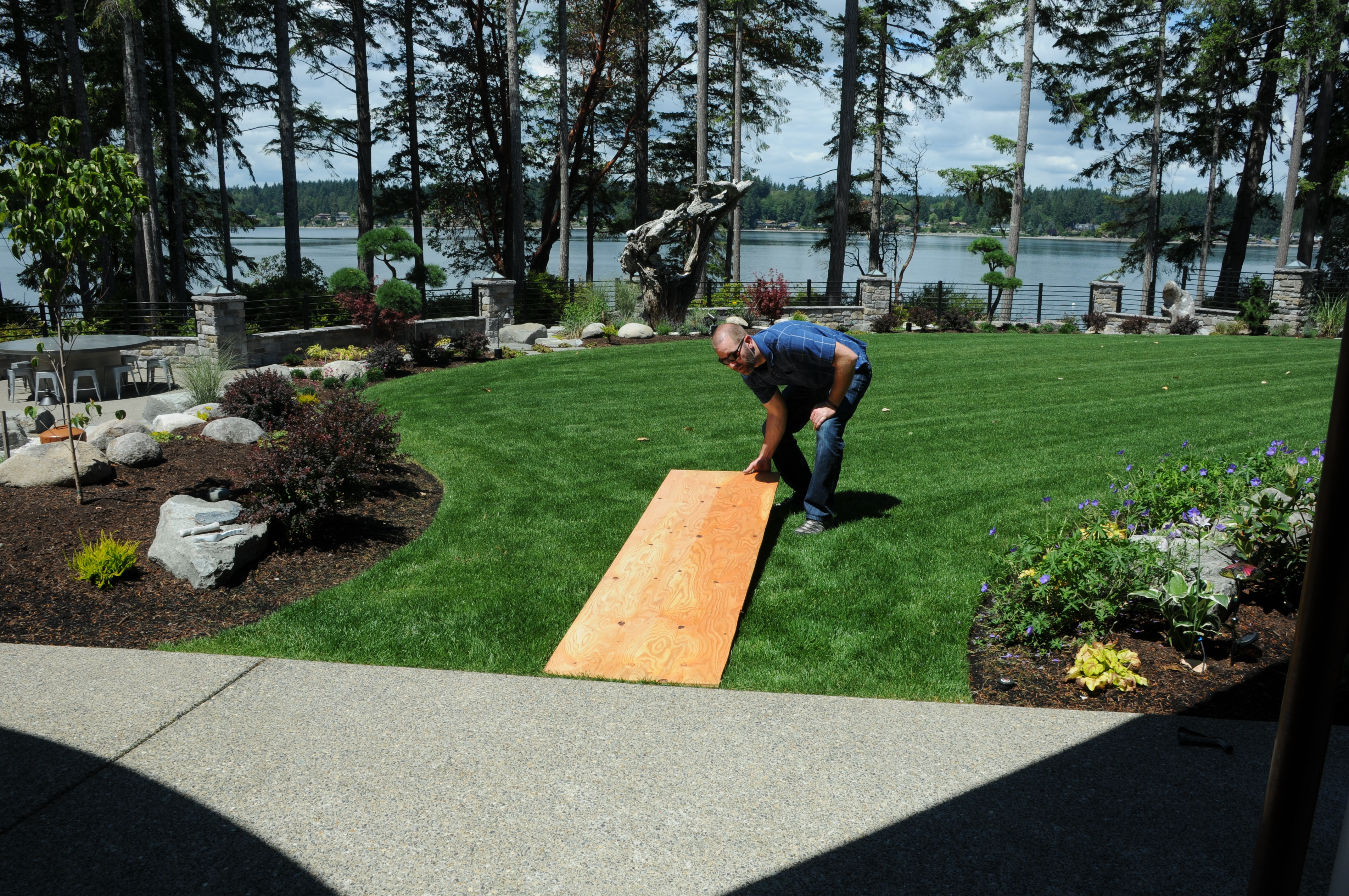 Man placing 2 foot by 8 foot board on lawn