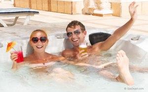 Happy hot tub couple